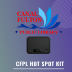 Image of a hot spot kit overlayed on top of the Canal Fulton Public Library logo