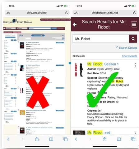 Side-by-side image comparing the old and new mobile catalog websites.